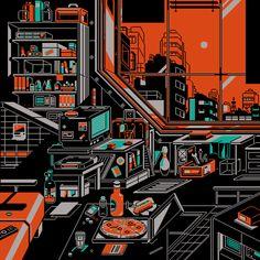 waneella is creating pixel art Joan Miro Paintings, Van Gogh Paintings, Autodesk Sketchbook Tutorial, Cityscape Drawing, Arte 8 Bits, Pixel Art Background, Cool Pixel Art, Gifs, Cyberpunk Art