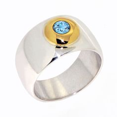 GOLDEN LAKE Aquamarine Ring 14k gold and sterling silver by arosha, $320.00