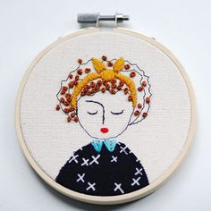 Girl with a cute head wrap... #embroidery #embroideryhoop #illustration #art #nc #raleigh #yellow #textiles