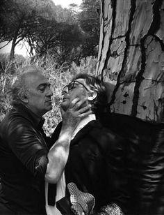 """Federico Fellini e Marcelo Mastroianni no set de """"La Dolce Vita"""", filme de 1960. Veja também: http://semioticas1.blogspot.com.br/2011/11/cahiers-du-cinema.html"""