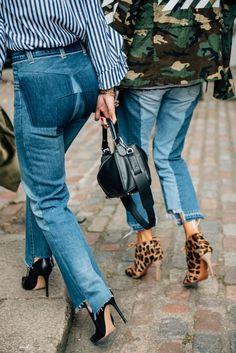 Two-tone denim cutoff jeans with raw edge