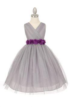 Silver/Purple Tulle V-Neck with Removable Floral Sash Flower Girl Dress CC-1220-SPP on www.GirlsDressLine.Com