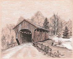 8 x 10 drawing Landscape Pencil Drawings, Landscape Sketch, Pencil Art Drawings, Art Drawings Sketches, Landscape Photos, Landscape Photography, Bridge Drawing, Bridge Painting, Stone Painting