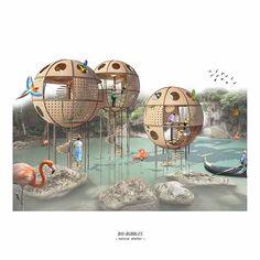Contemporary Architecture, Architecture Design, Cool Playgrounds, Bubble House, Interior Design Presentation, Pavilion Design, Digital Art Photography, Playground Design, Education Architecture