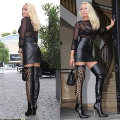 Leather Dresses, Leather Skirt, Nylons, Thigh High Boots Heels, Knee Boots, Heeled Boots, Leather Catsuit, Crazy Outfits, Fetish Fashion