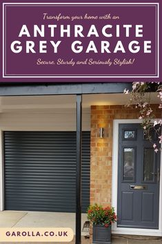 Grey Garage Doors : A Grey Roller Garage Door is incredibly stylish. With an anthracite roller garage door, you can enter your garage in style as well as ease! Small Garage Door, Grey Garage Doors, Single Garage Door, Garage Door Colors, Garage Walls, Front Doors, Roller Doors, Roller Shutters, Shutter Colors