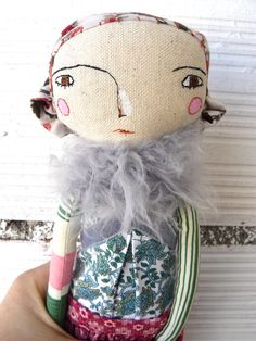 Art doll with fabric hair. Embroidered face. by AntonAntonThings