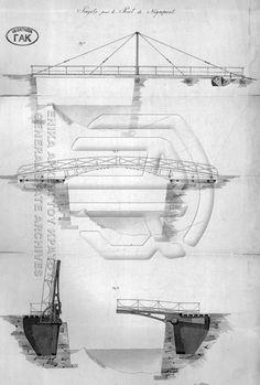 Σχέδια του 1833 επί Όθωνα για την γέφυρα του Ευρίπου, μεταξύ αυτών διακρίνουμε σχέδιο για συρόμενη και ανορθούμενη γέφυρα