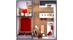 minipiso 25m2 (beis, blanco y rojo para relajarte con alegría) | Decorar tu casa es facilisimo.com