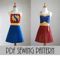 The SUPER WONDER MOM Woman's Apron Pattern - Super Hero Apron Pattern in Two Styles with Many Variations