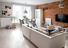 Mieszkanie w nadmorskim klimacie - PLN Design Home Staging, Random House, Interior Design Living Room, Decoration, Open House, House Tours, Kitchen Design, Brick, Shabby Chic