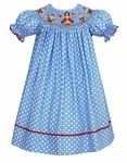 Claire & Charlie Girls Periwinkle Blue Dotted Smocked Snow White Bishop Dress