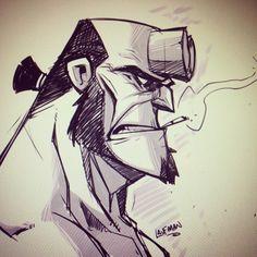 The Art of Derek Laufman — Can't sleep? Draw hellboy! #hellboy #sketch...