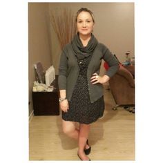 Black and white polkadot dress pumps and grey cardigan and scarf