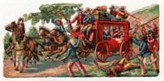 V.Large Victorian Die Cut Chromo Scrap American West. Indians attack Stage Coach