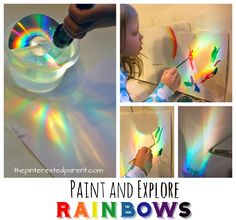 Olafur Eliasson for kids. Make, explore and paint rainbows. Use a CD, water and sunlight or a flashlight to cast rainbows, study and paint with watercolors. A great piece of process art for kids. Art and science, STEAM projects for preschoolers. Kid Science, Preschool Science, Science Activities, Rainbow Theme, Rainbow Art, Steam Art, Preschool Art Projects, Science Projects For Preschoolers, Science Experiments Kids