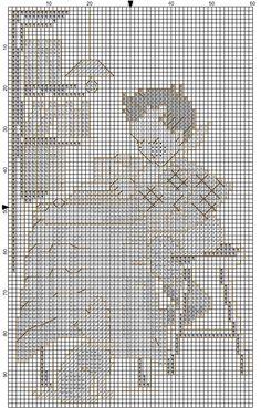 "MODIFIED.  ""Little Bookkeeper / Book Lore"" Hummel cross stitch, pattern 1"