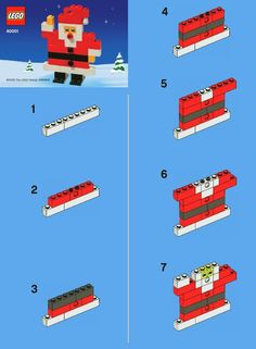 Lego Santa--something to occupy the kids Christmas Eve. Lego Santa--something to occupy the kids Christmas Eve. Maybe even have little stockings hung for them before they arrive with the Santa, an orange and candy cane? Lego Christmas, Christmas Activities, Activities For Kids, Crafts For Kids, Christmas Christmas, Lego Duplo, Lego Hacks, Lego Challenge, Lego Club