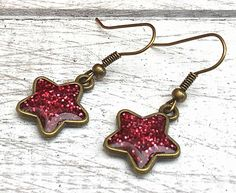 Ruby Sparkle Resin Star Earrings, Sparkly Stars, Gift for Her, Someone Special, Ruby Anniversary, Ruby Birthstone, Ruby Wedding by nimmysjewellery on Etsy