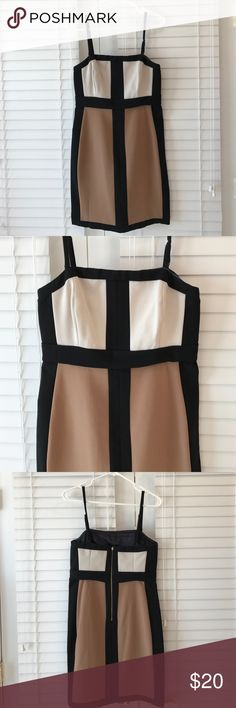 Black, tan, ivory dress Black tan and ivory dress with back zip. Worn once! Straps are removable! New York & Company Dresses