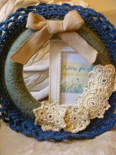 Crochet Wreath Sage Green & Blue Color by SistersforSunshine
