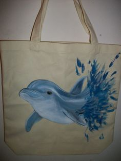 (great gift ideas!) hand painted Dolphin Splash  on a canvas tote by brendanickolaus on Etsy, $25.00