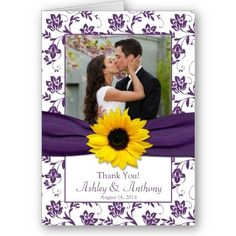 Violet purple damask floral and yellow sunflower photo wedding thank you card. The text is customizable and can also be made into an invitation. #weddings