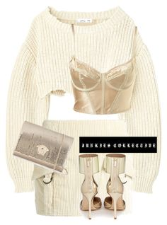 """MESSY B*TCH"" by junkiescollective ❤ liked on Polyvore featuring Anthony Vaccarello, Jimmy Choo and Versace"