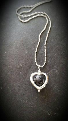 Silver Heart & Lava Rock  Essential Oil Diffuser by AuraStrands