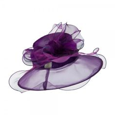 Purple Two Tone Double Glass Organza Hat ❤ liked on Polyvore featuring accessories, hats, dressy hats, wide brim hat, two tone hat, brimmed hat and glass hat