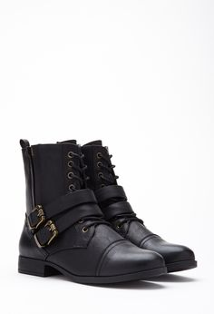 Buckled Lace-Up Boots | FOREVER21 - 2000129967