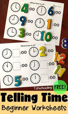 Work on telling time with these hands on telling time sheets! Perfect for preschoolers and toddlers!