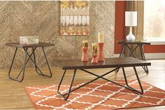 Endota coffee table set effortlessly infuses form and function into your living space. Angular metal bases and distressed tabletops provide that coveted eclectic look. Endota works so well with mid-century, vintage and modern decor alike.