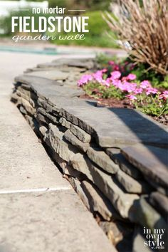 How to make a garden wall. Fieldstone-garden-wall-that-uses-no-mortar. Landscaping With Rocks, Outdoor Landscaping, Outdoor Gardens, Landscaping Ideas, Landscape Plans, Landscape Design, Garden Design, Garden Wall Designs, House Landscape