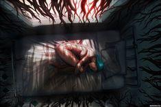 Тьма со всех сторон тянется к лежащей на кровати девушке — Фото аватарки 2k Wallpaper, Wallpaper Please, What To Make, Tentacle, Art Girl, Roots, Horror, Design Inspiration, Painting