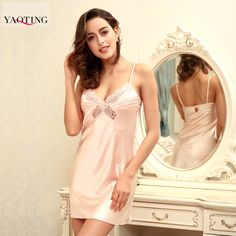 Summer Sleepwear breathable faux silk Spaghetti Strap Nightdress Female Sleepwear sweet temptations hollow Nightgown Women -- Visit the image link more details.