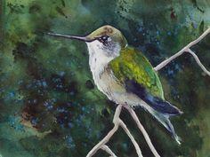 Hummingbird 2 // Watercolor // Birds // Trees // by OlliffStudio