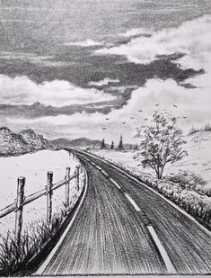 Scenery Drawing Pencil, Pencil Sketches Landscape, Cool Pencil Drawings, Landscape Drawings, Art Drawings Sketches Simple, Realistic Drawings, Pencil Sketches Of Nature, Charcoal Art, Art Drawings Beautiful