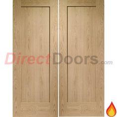 Pattern 10 Style 1 Panel Oak Fire Door Pair is 30 Minute Fire Rated.  #doublefiredoors #interiorfiredoors #directdoors