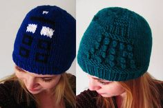 Doctor Who hats. TARDIS and a Dalek. Made up the TARDIS, but i used the Dalek chart from http://www.entropyhouse.com/penwiper/who/dalekcloth.html