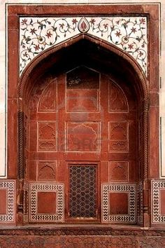Picture of India, Agra: Taj Mahal; view of one lateral door of the mosque stock photo, images and stock photography. Architecture Unique, Mughal Architecture, Portal, Agra, Taj Mahal, Cool Doors, Door Knockers, Architectural Elements, Doorway