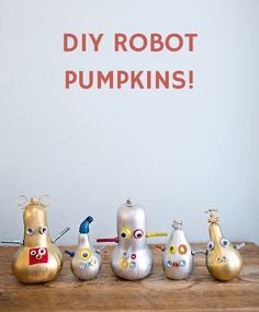 Reveling in decorative gourd season? Show your maker roots with this fun tutorial for making your own awesome Halloween robot gourds and pumpkins! Halloween Mono, Cute Halloween, Holidays Halloween, Halloween Costumes For Kids, Halloween Pumpkins, Halloween Crafts, Pumpkin Art, Pumpkin Carving, Pumpkin Ideas