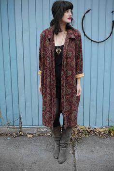 Maxi Oversized Burgundy Coat by ShopHistoire on Etsy