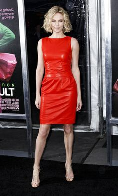 Charlize Theron looking hot in red leather.