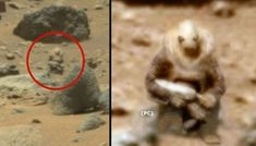 Photos sent back by Curiosity show what looks like an armored alien soldier keeping an eye on the curious Rover. Is NASA under surveillance? While searching through NASA images captured by the SUV-sized explorer, the Paranormal, Curiosity Rover, Aliens And Ufos, Ancient Aliens, Mars In The Sky, Sonda Curiosity, Alien Soldier, Ancient Myths, Unexplained Phenomena