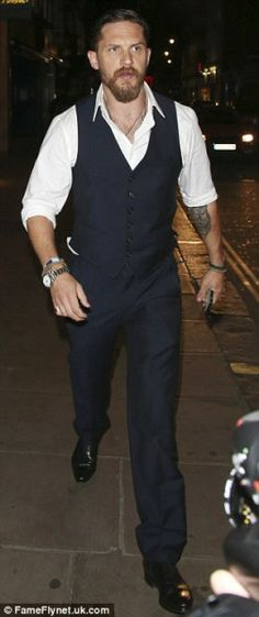 Tom Hardy leaves the after party at the exclusive Groucho Club in London's Soho area. Sep. 3rd 0215