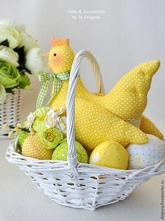 Солнечная Ряба. Пасхальная композиция - желтый,пасхальный декор,Пасха