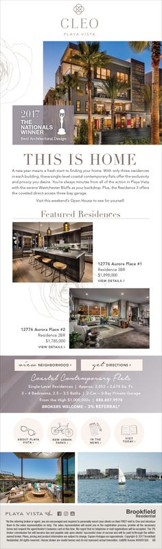 New Homes For Sale in Playa Vista, California  Award-Winning Featured Residences at Cleo at Playa Vista  Broker's Welcome!  3% Referral Fee!  Your clients can move in to these award winning homes.   http://brookfieldsocal.com/neighborhood/cleo-at-playa-vista/