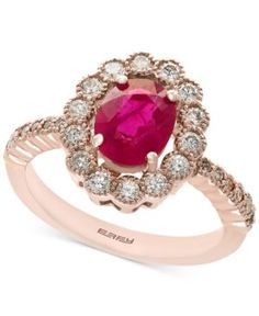 Amore by Effy Certified Ruby (1-3/8 ct. t.w.) and Diamond (5/8 ct. t.w.) Statement Ring in 14k Rose Gold - Red