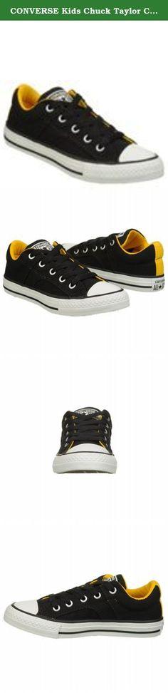 CONVERSE Kids Chuck Taylor Chase Low Top Sneaker Pre/Grade School (Black/Yellow 1.0 M).